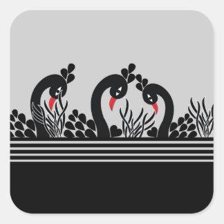 black peacock square sticker