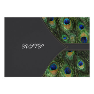Black Peacock Wedding RSVP Personalized Announcements