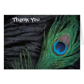 Black Peacock Wedding Thank You Card