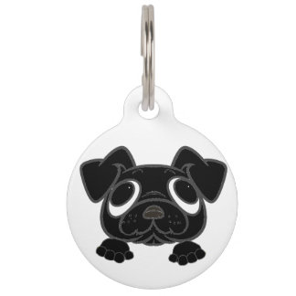 black peeking pug pet name tag