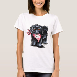 Black Pekingese Pet Name Personalized Pink Scarf T-Shirt