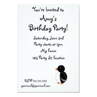 "Black penguin 3.5"" x 5"" invitation card"