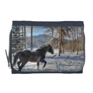 Black Percheron in Forest and First Winter Snow Wallets