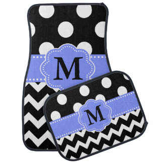 Black Periwinkle Chevron Dots Monogram Car Mat