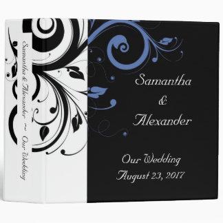 Black Periwinkle Cornflower Blue Floral Wedding 3 Ring Binder