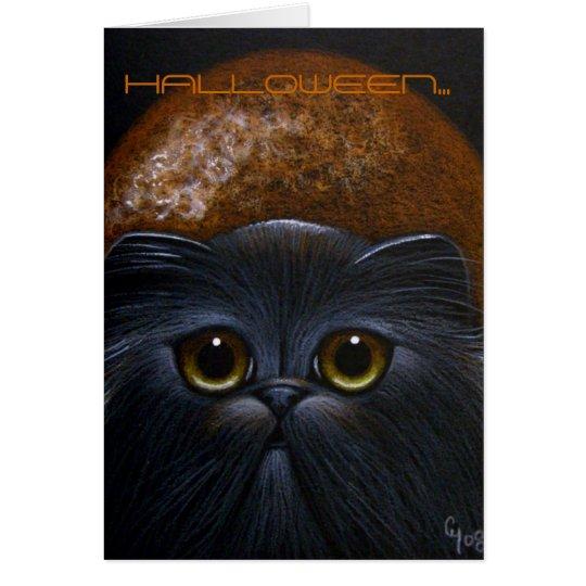 BLACK PERSIAN CAT - HALLOWEEN Card