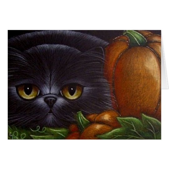 BLACK PERSIAN CAT HALLOWEEN PUMPKINS Card