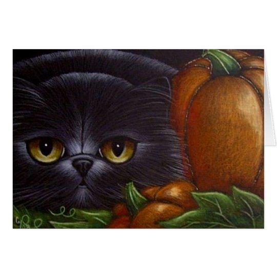 BLACK PERSIAN CAT HALLOWEEN PUMPKINS Card