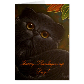 BLACK PERSIAN CAT - THANKSGIVING Card