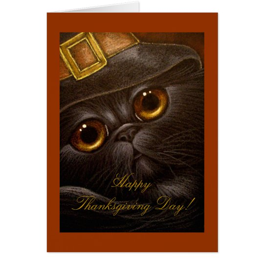 BLACK PERSIAN CAT THANKSGIVING Card