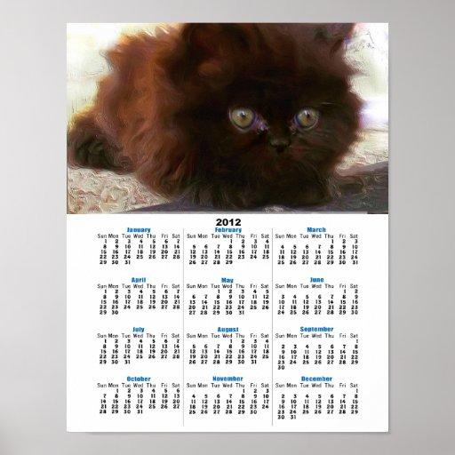 Black persian kitten 2012 calendar poster