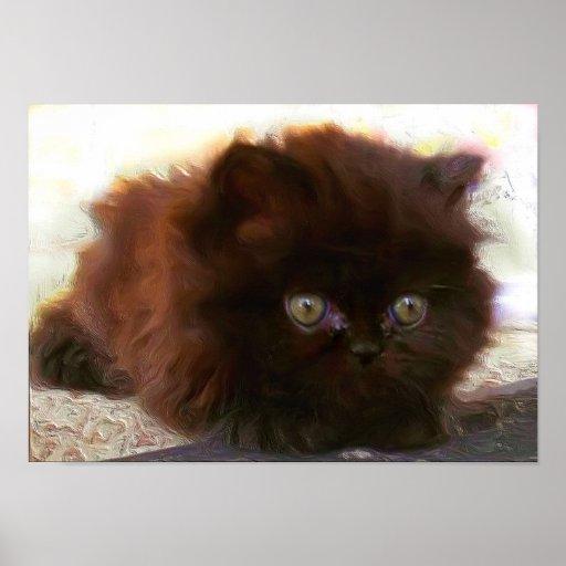 Black Persian Kitten Poster