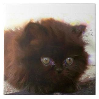 Black persian kitten tile