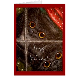 BLACK PERSIAN KITTENS HOLIDAY Card