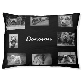Black Personalized Photo Paw Love Dog Bed Large Dog Bed