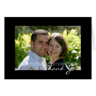 Black Personalized Photo Wedding Thank You Cards