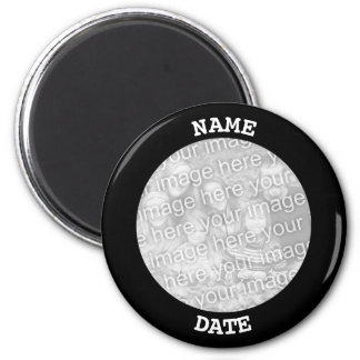 Black Personalized Round Photo Border Magnet