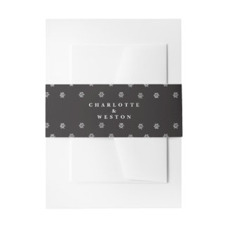 Black Personalized Wedding Invitation Belly Band