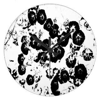 Black Petunias Large Clock