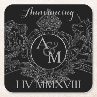 Black Pewter Lion Unicorn Emblem Save The Date Square Paper Coaster