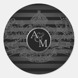 Black Pewter Lion Unicorn Regal Emblem Monogram Classic Round Sticker
