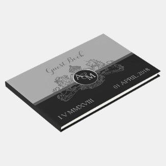 Black Pewter Lion Unicorn Regal Emblem Monogram Guest Book