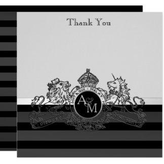 Black Pewter Lion Unicorn Regal Emblem Thank You Card