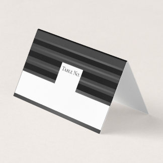 Black Pewter Tuxedo Stripe Guest Table Number Card