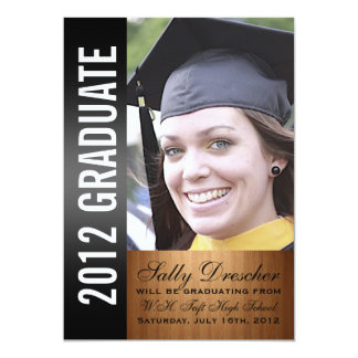 "Black Photo 2012 Graduate 5"" X 7"" Invitation Card"