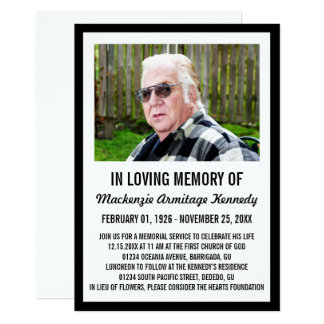 Black Photo Memorial Service or Funeral Invite