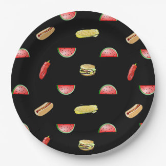 Black Picnic Veggies and Burgers Tablecloth 9 Inch Paper Plate