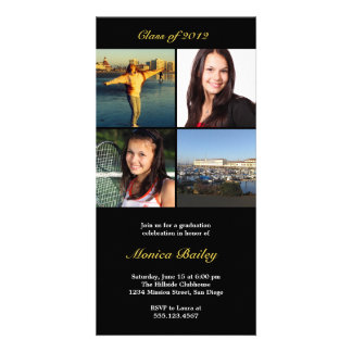 Black picture block graduation announcement invite picture card