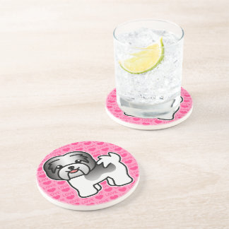 Black Piebald Cartoon Havanese Coaster