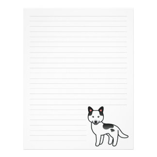 Black Piebald Cartoon Siberian Husky Letterhead