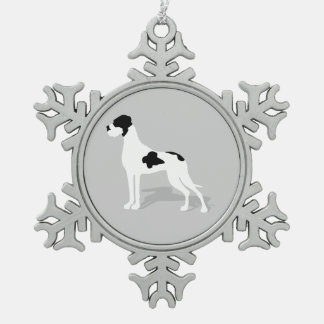 Black Piebald Great Dane Snowflake Pewter Christmas Ornament