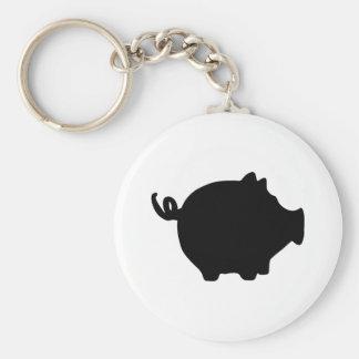 black piggy bank icon basic round button keychain