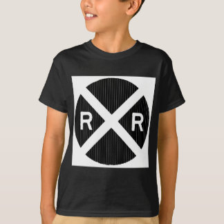 Black Pin Stripe Railroad Crossing Sign T-Shirt