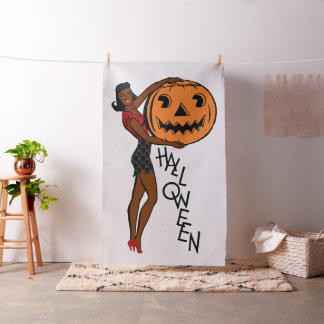 black pin up halloween fabric