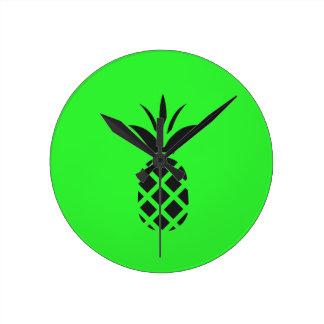 Black pine apple in Green Round Clock