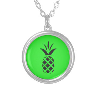 Black pine apple in Green Silver Plated Necklace