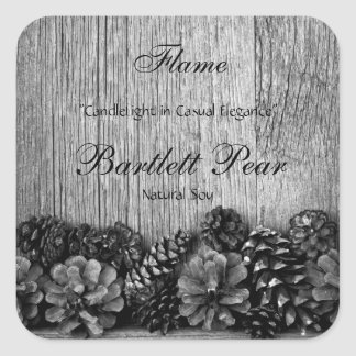 Black Pine Cones on Rustic Wood Candle Label Square Sticker