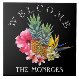 Black Pineapple Welcome Sign Family Name Tile