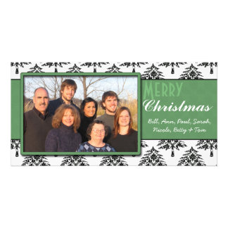 Black Pines Damask Green Trim Merry Christmas Picture Card