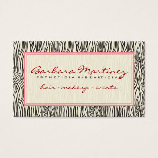 Black Pink And Beige Animal Print Zebra Pattern Business Card