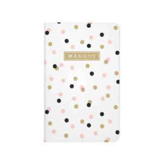Black Pink and Gold Confetti Dots Monogram Journal