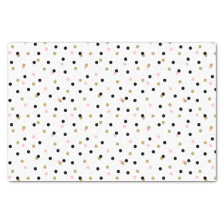 Black Pink and Gold Confetti Dots Tissue Paper