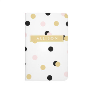 Black Pink and Gold Polka Dot Monogram Journal