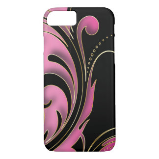 Black, Pink and Gold Swirly Print iPhone 7 Case