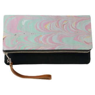 Black, Pink and Mint Marbled  Fold-Over Clutch