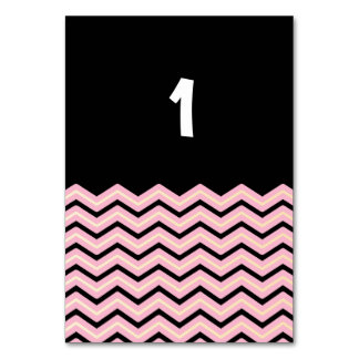 Black, Pink and Yellow Chevron Table Card